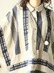 Beige Shift Shirt Collar Printed Casual Linen Top
