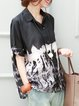 Black Abstract Printed Shift Casual Linen Top
