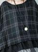 Casual Checkered/Plaid Half Sleeve Shift Crew Neck Linen Top