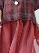 Crew Neck Casual 3/4 Sleeve Checkered/Plaid Linen Dress