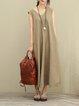 Sleeveless Casual Linen V Neck Linen Dress