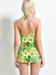 Green Halter Floral Spandex One-Piece