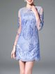 Light Blue Sheer Floral Embroidered 3/4 Sleeve Mini Dress With Camis