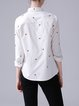 Shirt Collar Cotton Casual Embroidered Blouse