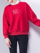 Embroidered Casual Long Sleeve Sweatshirt