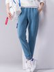 Blue Cotton-blend Casual Track Pants