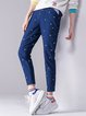 Navy Blue Cotton Casual Skinny Leg Pants