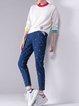 Navy Blue Cotton Casual Skinny Leg Pants