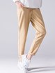 Khaki Casual Plain Straight Leg Pants
