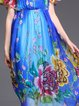 Casual Floral Printed Frill Sleeve Silk Holiday Dress