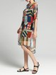 Multicolor Half Sleeve Buttoned Two Piece Silk Midi Dress