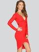 Red Bandage Plain Sexy Midi Dress