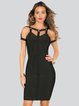 Black Bandage Plain Bodycon Sexy Midi Dress