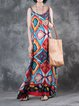Casual Crew Neck Sleeveless Shift Printed Linen Dress