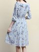 Gray Printed Ruffled Vintage A-line V Neck Midi Dress
