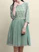 Green Crew Neck 3/4 Sleeve Floral Print Mesh Paneled Polyester Midi Dress