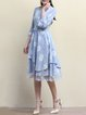 3/4 Sleeve Casual Lace Paneled A-line Crew Neck Printed Midi Dress