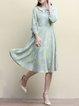 Light Blue 3/4 Sleeve Peter Pan Collar Printed Midi Dress