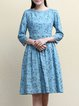 Blue 3/4 Sleeve Printed A-line Lace Paneled Midi Dress