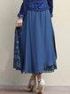 Dark Blue Vintage Floral A-line Mesh Paneled Midi Skirt