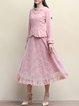 Pink A-line Vintage Floral Tulle Paneled Midi Skirt