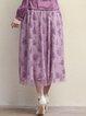 Purple Floral Vintage Floral-print Polyester Midi Skirt