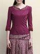 Purple Cotton V Neck 3/4 Sleeve Lace Paneled Blouse