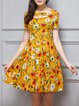 Yellow Floral-print Girly Mini Dress