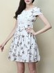 White Floral Floral-print A-line Short Sleeve Mini Dress