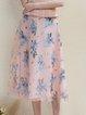 Pink A-line Elegant Chiffon Midi Skirt