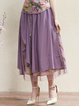 Purple A-line Casual Midi Skirt