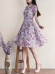 A-line Girly Short Sleeve Midi Dress