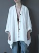 Buttoned Batwing Casual Linen Top