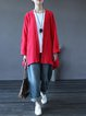 Plus Size Batwing Casual Solid Buttoned Linen Top