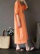 Casual Linen Solid Shift Linen Dress