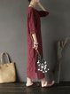 Shift Casual 3/4 Sleeve Square Neck Linen Dress