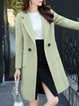 Pockets Lapel Slit Elegant Wool Solid Long sleeve Buttoned Blazer