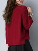 Knitted Casual Solid Wool Blend Sweater