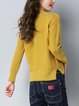 Crew Neck Long Sleeve Solid Knitted Sweater