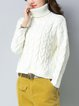 White Knitted Casual Turtle Neck Sweater