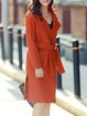 Slit H-line Casual Lapel Long Sleeve Coat with Belt