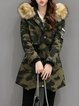 Casual Cotton-blend Hoodie Long Sleeve Asymmetric Parka