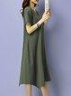 Pockets Cotton-blend Asymmetric Short Sleeve Midi Dress