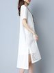 Slit Pierced Crew Neck Elegant Cotton-blend Short Sleeve Midi Dress