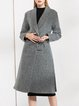 A-line Lapel Wool Blend Long Sleeve Slit Coat