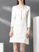 Crew Neck Cotton A-line 3/4 Sleeve Mini Dress