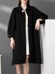 Black H-line Wool Long Sleeve Buttoned Coat