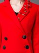 Statement 3/4 Sleeve Buttoned Beaded Lapel Coat