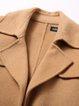 Wool Lapel Slit Long Sleeve A-line Pockets Coat