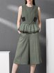Army Green Ruffled Sleeveless Wool Plain Jumpsuit